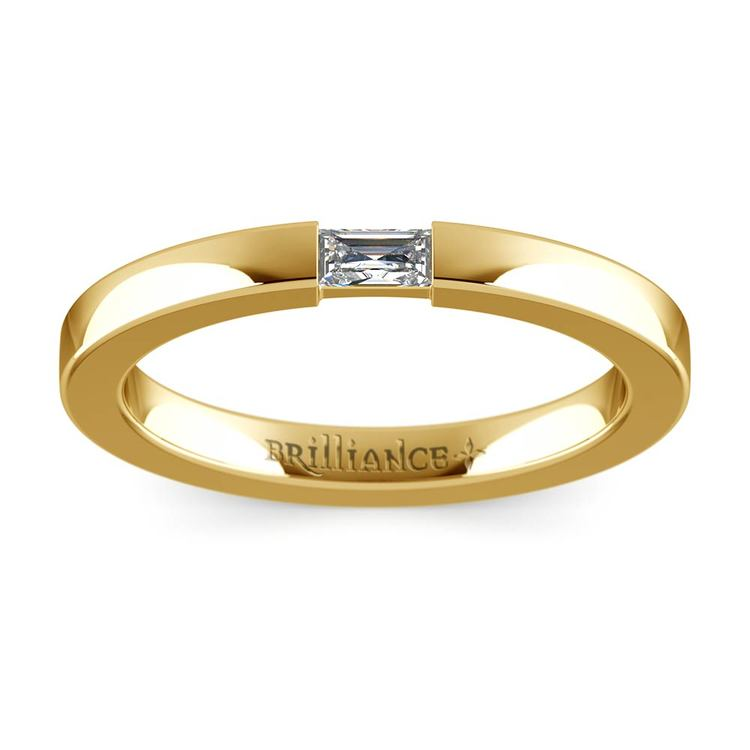Flat Promise Ring with Baguette Diamond in Yellow Gold (2.5mm) | 02