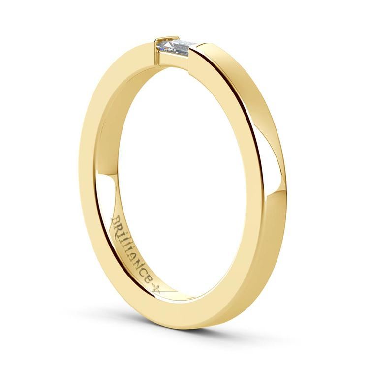 Flat Promise Ring with Baguette Diamond in Yellow Gold (2.5mm) | 04