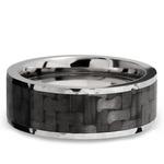Flat Carbon Fiber Inlay Men's Wedding Band in 14K White Gold | Thumbnail 03