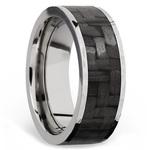 Flat Carbon Fiber Inlay Men's Wedding Band in 14K White Gold | Thumbnail 02