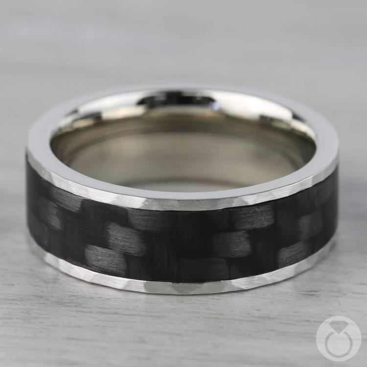 Flat Carbon Fiber Inlay Men's Wedding Band in 14K White Gold | 04