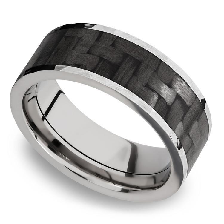 Flat Carbon Fiber Inlay Men's Wedding Band in 14K White Gold | 01