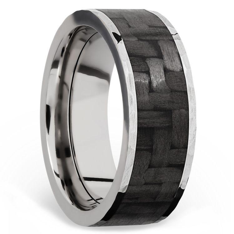 Flat Carbon Fiber Inlay Men's Wedding Band in 14K White Gold | 02
