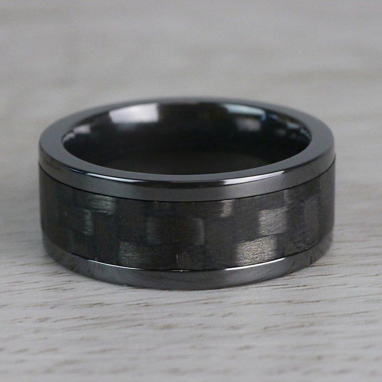 Flat Carbon Fiber Inlay Men's Wedding Ring in Zirconium (8mm) | 04