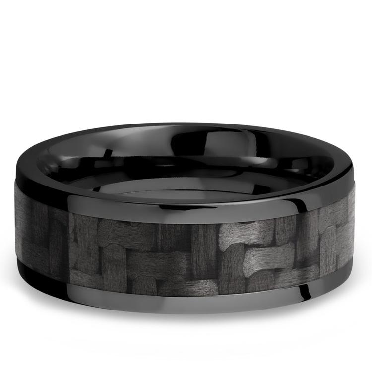 Flat Carbon Fiber Inlay Men's Wedding Ring in Zirconium (8mm) | 03