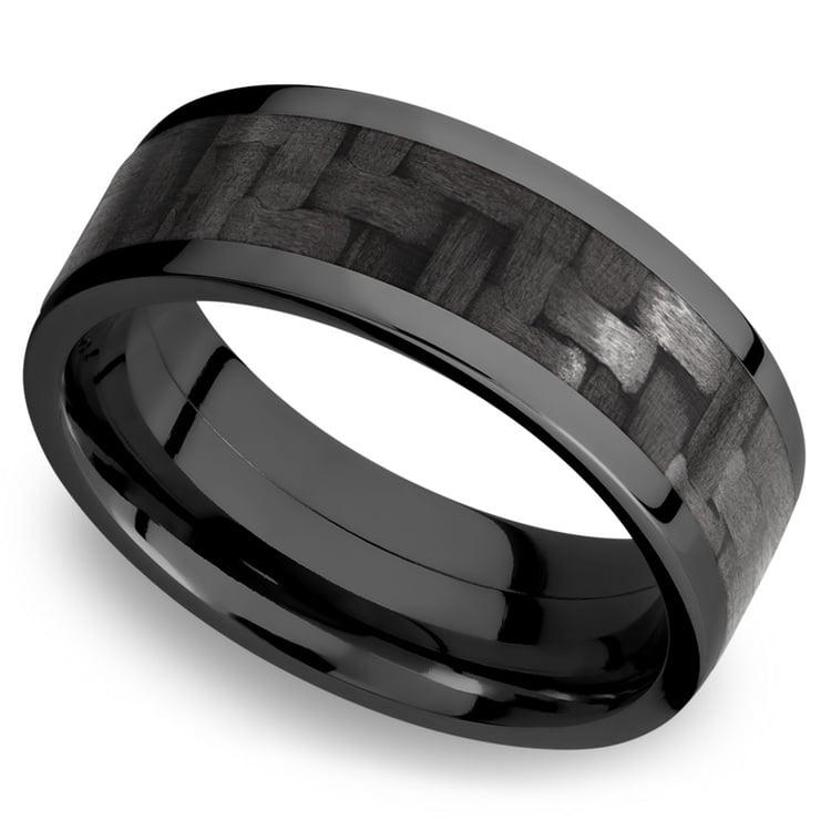 Flat Carbon Fiber Inlay Men's Wedding Ring in Zirconium (8mm) | 01