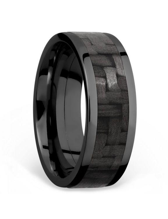 Flat Carbon Fiber Inlay Men's Wedding Ring in Zirconium (8mm) | 02
