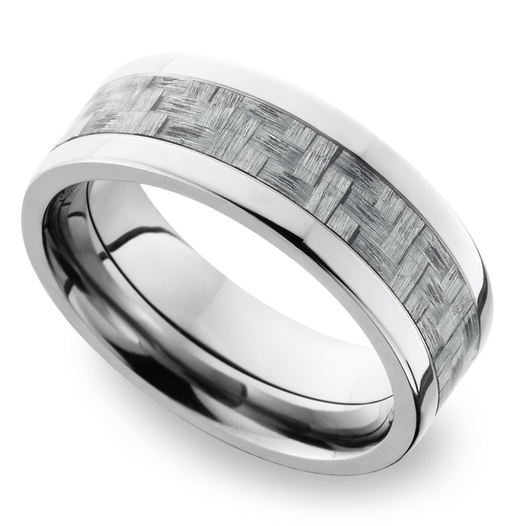 Flat Carbon Fiber Inlays Men's Wedding Ring in Titanium | 01