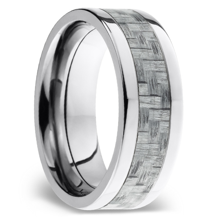 Flat Carbon Fiber Inlays Men's Wedding Ring in Titanium | 02