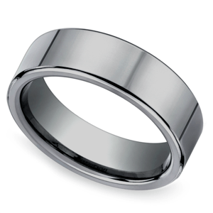 Flat Comfort Fit Men's Wedding Ring in Tungsten (6mm)