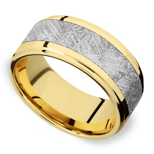 Supernova - Yellow Gold & Meteorite Mens Wedding Band