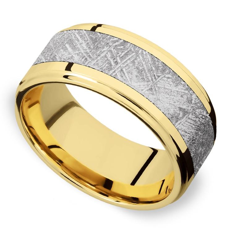 Supernova - Yellow Gold & Meteorite Mens Wedding Band | 01