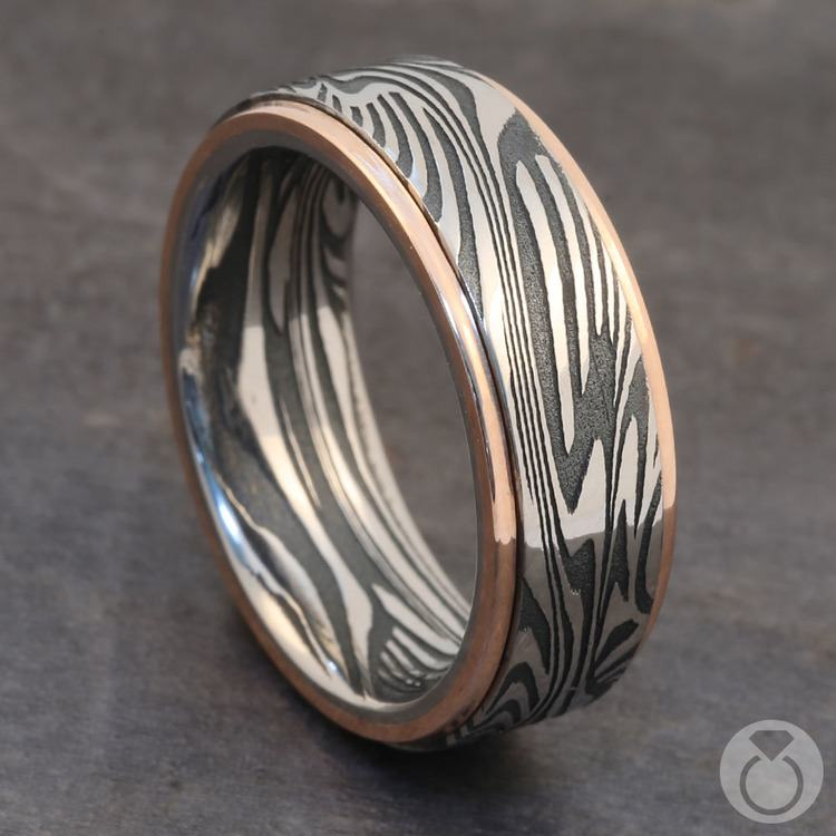 Last Night in Ibiza - Sunset Damascus Mens Wedding Band | 05