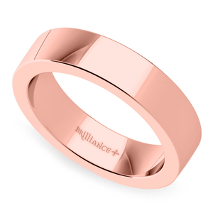 Flat Men's Wedding Band in Rose Gold (5mm)
