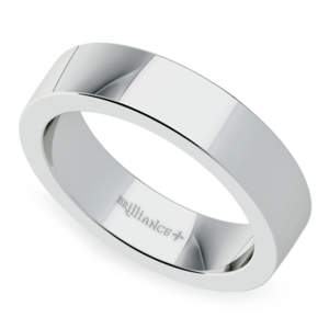 Flat Men's Wedding Band in White Gold (5mm)