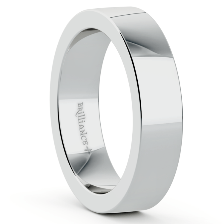 Flat Men's Wedding Band in White Gold (5mm) | 02