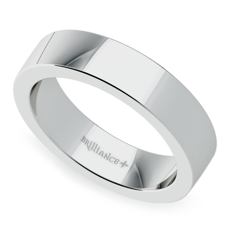 Flat Men's Wedding Band in White Gold (5mm) | 01