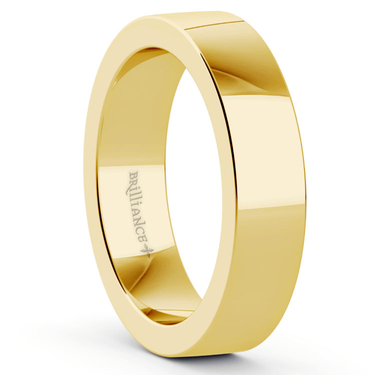 Flat Men's Wedding Band in Yellow Gold (5mm) | 02