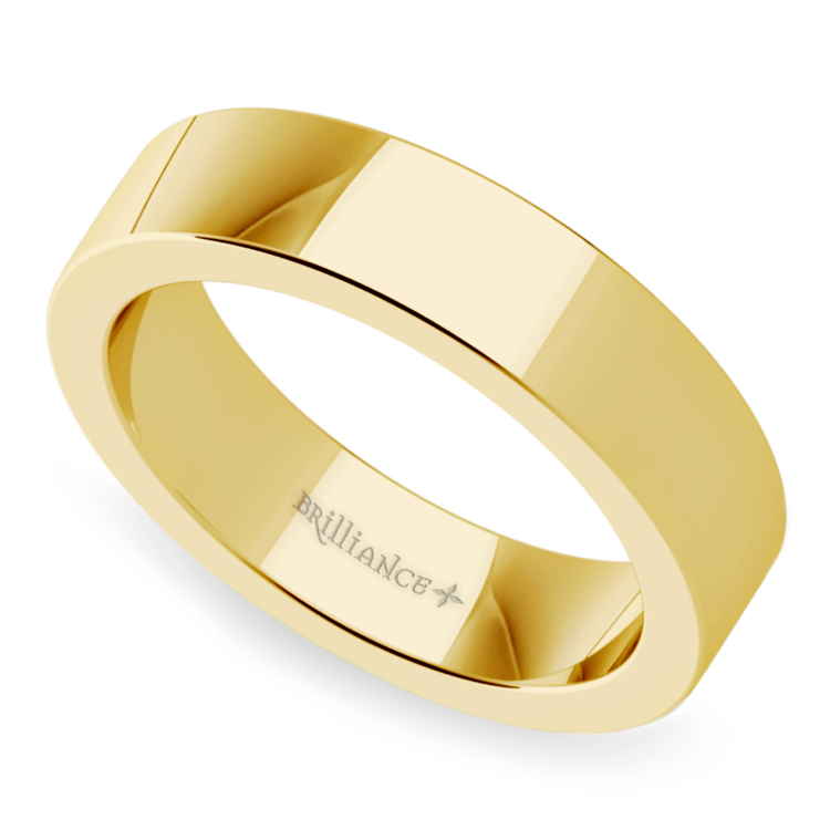 Flat Men's Wedding Band in Yellow Gold (5mm) | 01