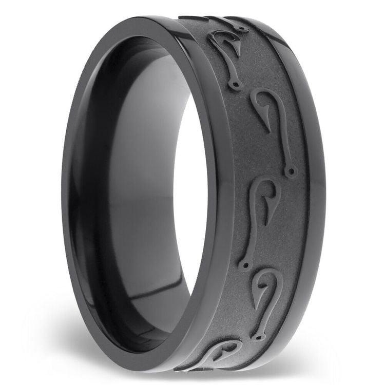 Flat Men's Wedding Ring with Fishhooks Pattern in Zirconium | 02