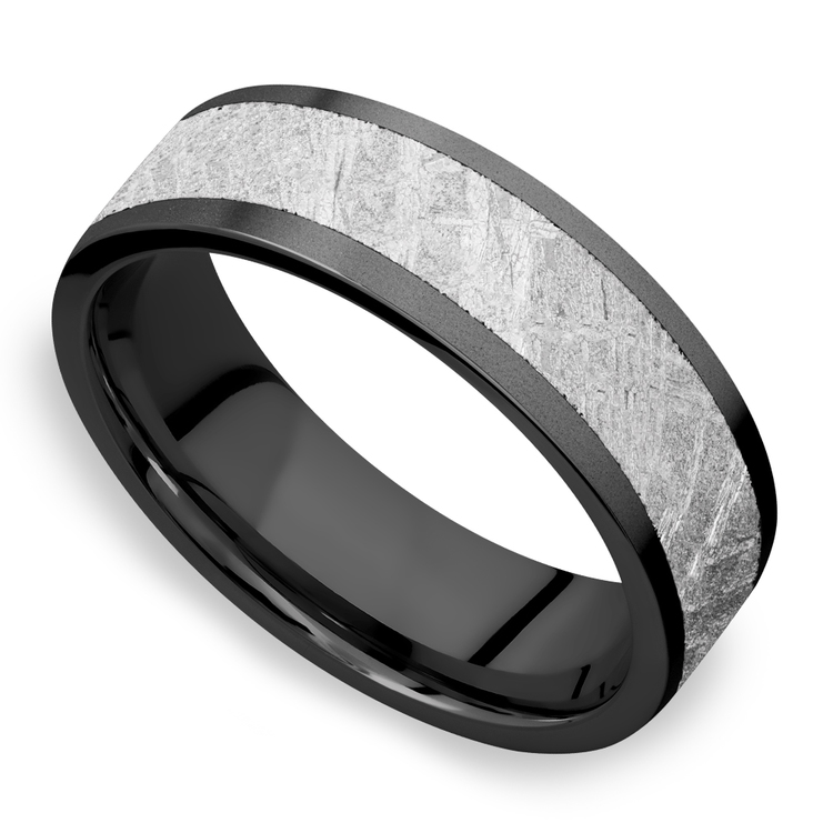 Interstellar - Meteorite & Zirconium Mens Wedding Band | 01