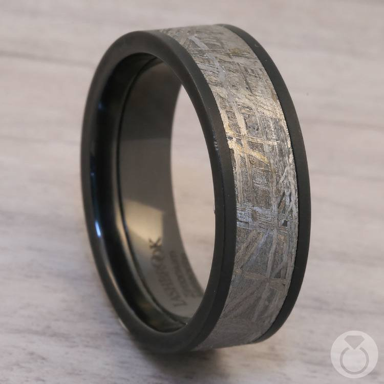 Interstellar - Meteorite & Zirconium Mens Wedding Band | 05