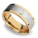 Flat Meteorite Inlay Men's Wedding Ring in 14K Yellow Gold | Thumbnail 01