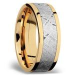 Flat Meteorite Inlay Men's Wedding Ring in 14K Yellow Gold | Thumbnail 02