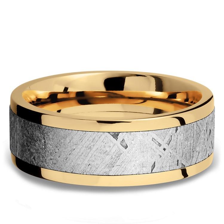 Flat Meteorite Inlay Men's Wedding Ring in 14K Yellow Gold | 03