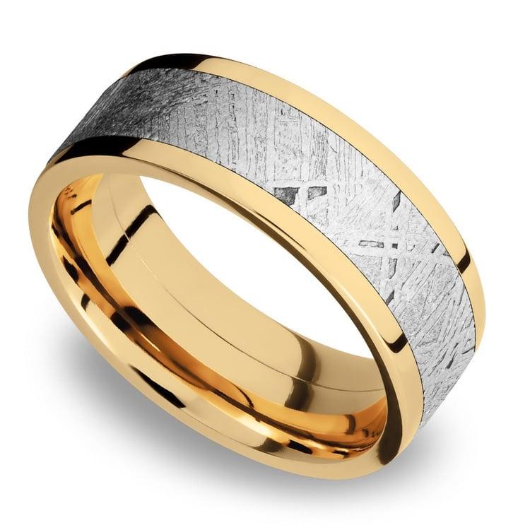 Flat Meteorite Inlay Men's Wedding Ring in 14K Yellow Gold | 01