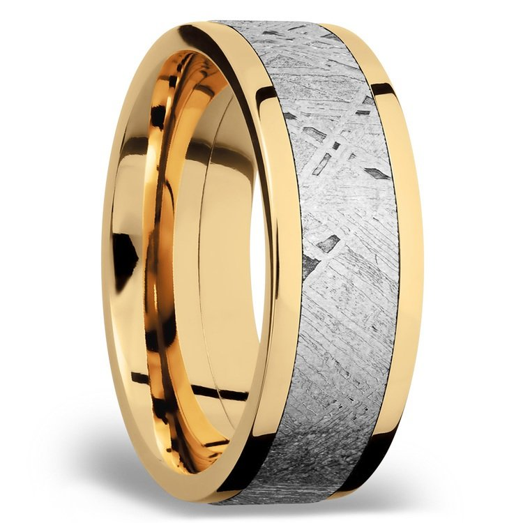 Flat Meteorite Inlay Men's Wedding Ring in 14K Yellow Gold | 02