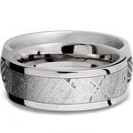 Flat Meteorite Inlay Men's Wedding Ring in Cobalt Chrome (8mm) | Thumbnail 03