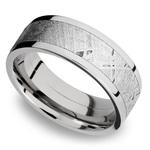Flat Meteorite Inlay Men's Wedding Ring in Cobalt Chrome (8mm) | Thumbnail 01