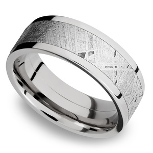 The Aldrin - Cobalt Chrome Flat Mens Meteorite Ring