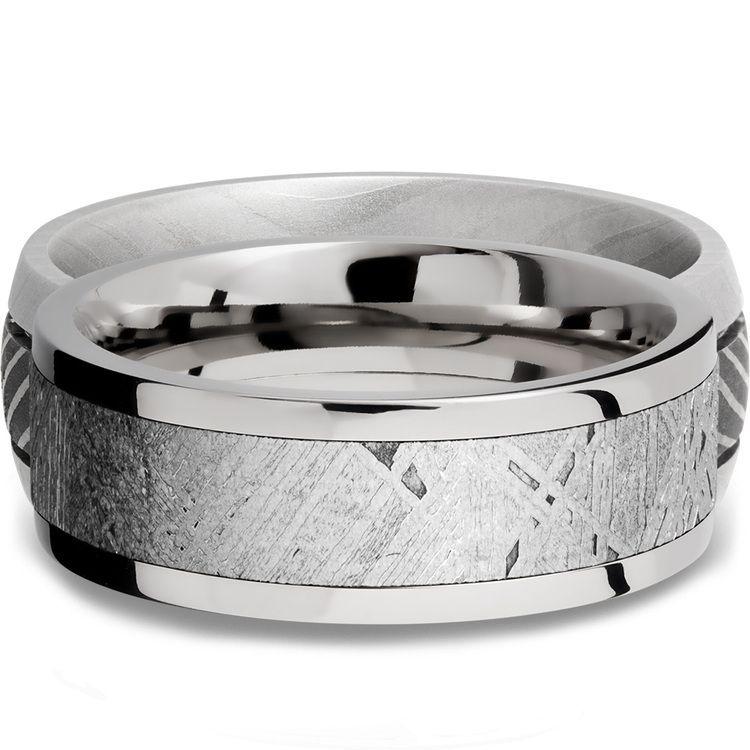 Flat Meteorite Inlay Men's Wedding Ring in Cobalt Chrome (8mm) | 03