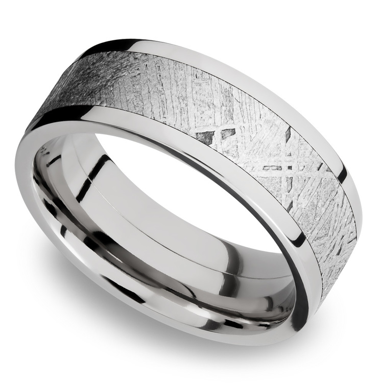Flat Meteorite Inlay Men's Wedding Ring in Cobalt Chrome (8mm) | 01