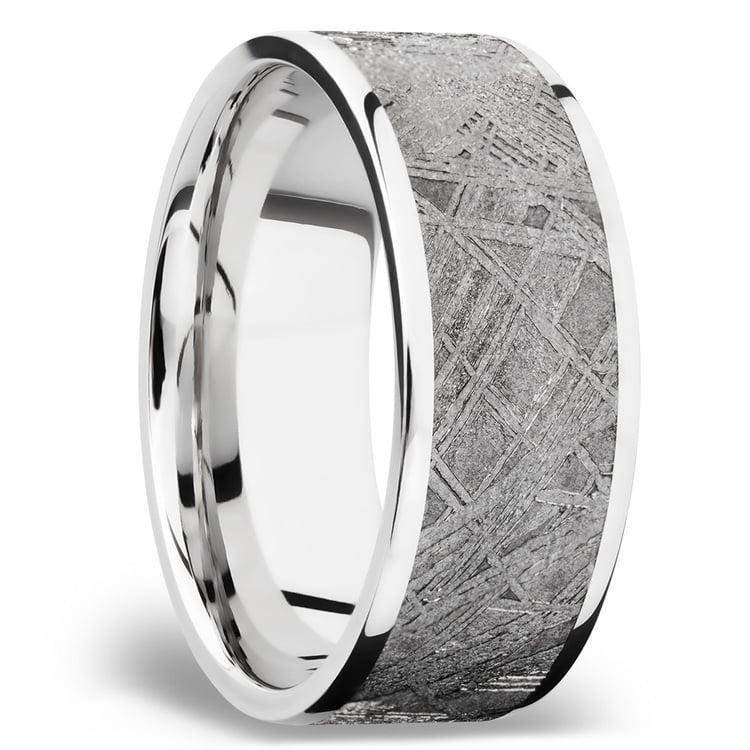 Flat Meteorite Inlay Men's Wedding Ring in Cobalt Chrome (8mm) | 02