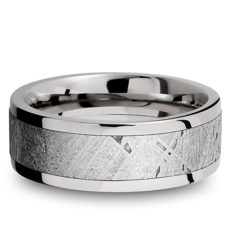 The Aldrin - Cobalt Chrome Flat Mens Meteorite Ring | 03