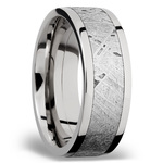 Milky Way - Wide Cobalt Chrome Mens Ring with Meteorite Inlay | Thumbnail 02