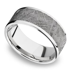 Milky Way - Wide Cobalt Chrome Mens Ring with Meteorite Inlay