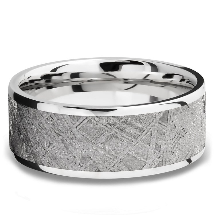 Milky Way - Wide Cobalt Chrome Mens Ring with Meteorite Inlay | 03