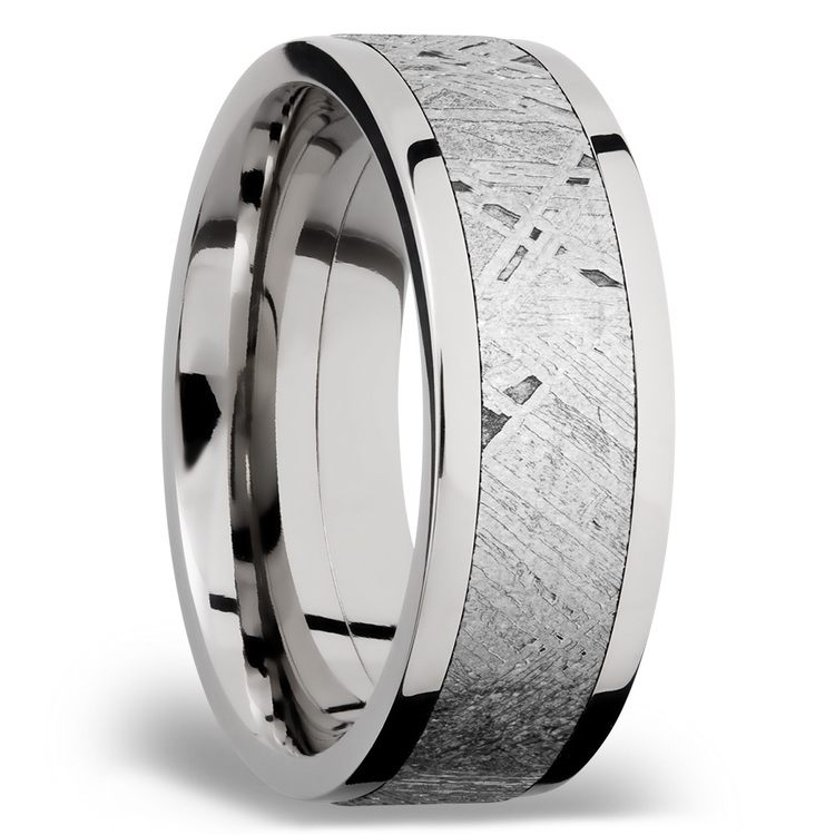 Milky Way - Wide Cobalt Chrome Mens Ring with Meteorite Inlay | 02