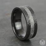 Ceres - Hammered Zirconium Mens Band with Meteorite Inlay | Thumbnail 04