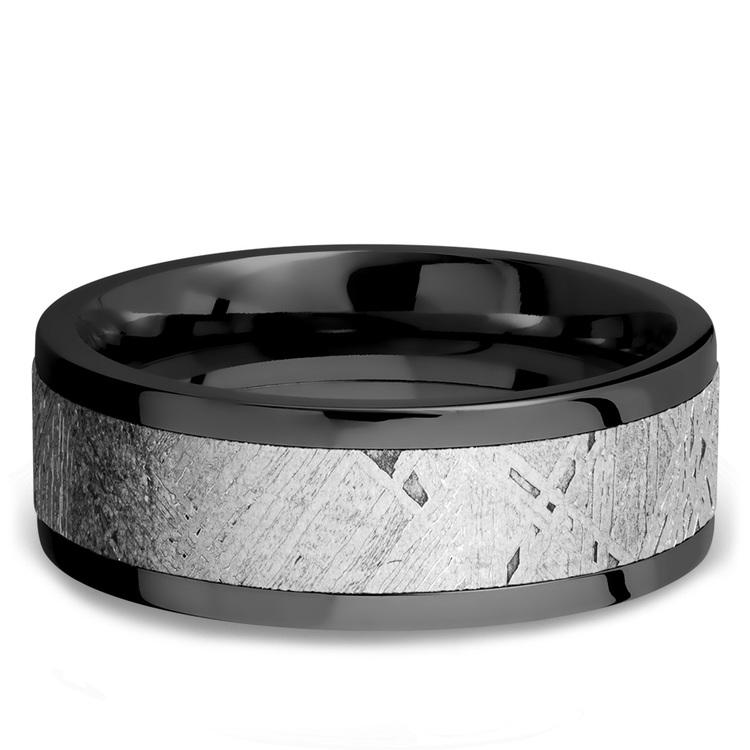 The Hawking - Zirconium Mens Band with Flat Meteorite Inlay | 03