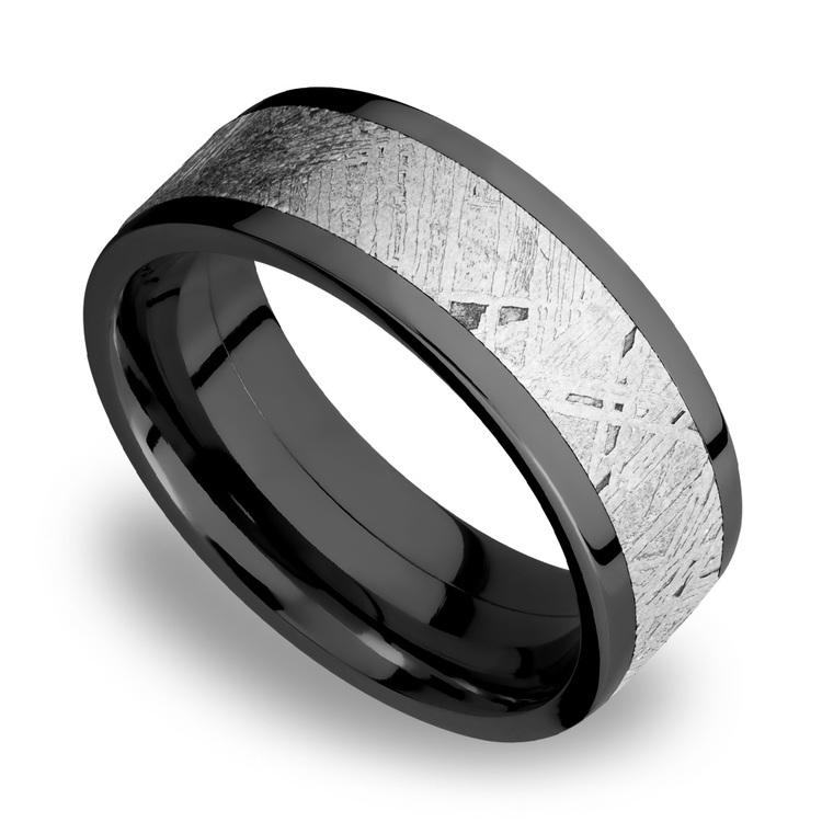 Flat Meteorite Inlay Men's Wedding Ring in Zirconium | 01