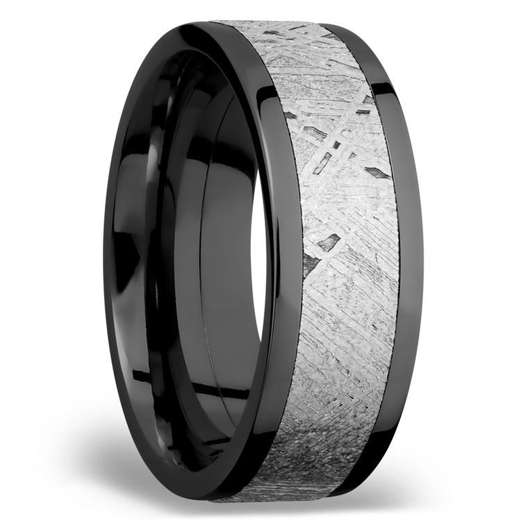 Flat Meteorite Inlay Men's Wedding Ring in Zirconium | 02