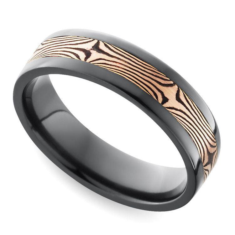 Flat Men's Wedding Ring with Mokume Inlay in Zirconium | 01