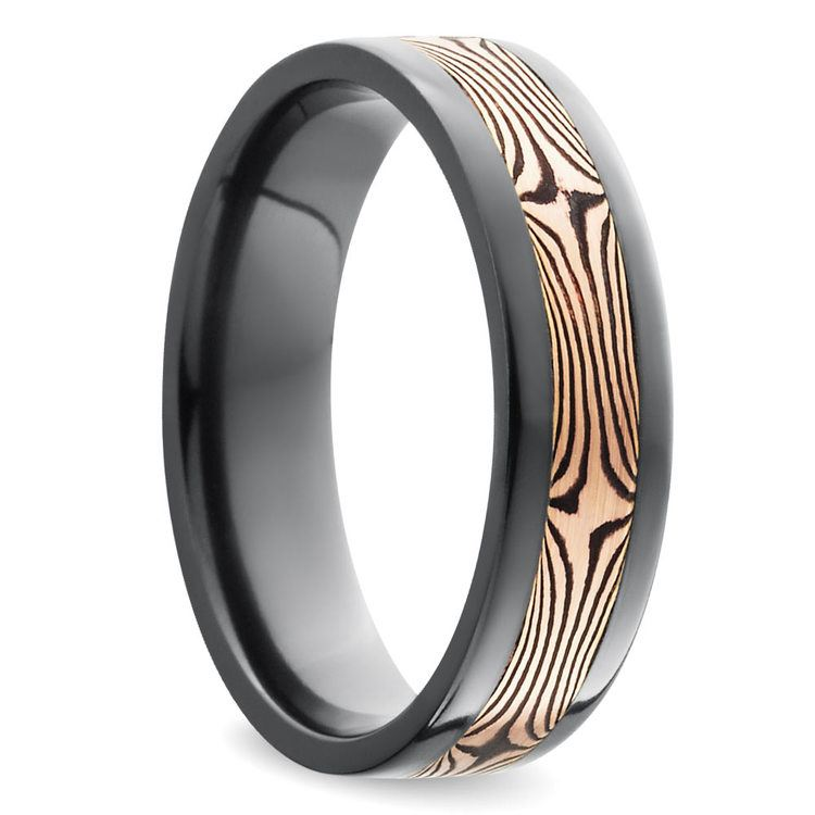 Flat Men's Wedding Ring with Mokume Inlay in Zirconium | 02
