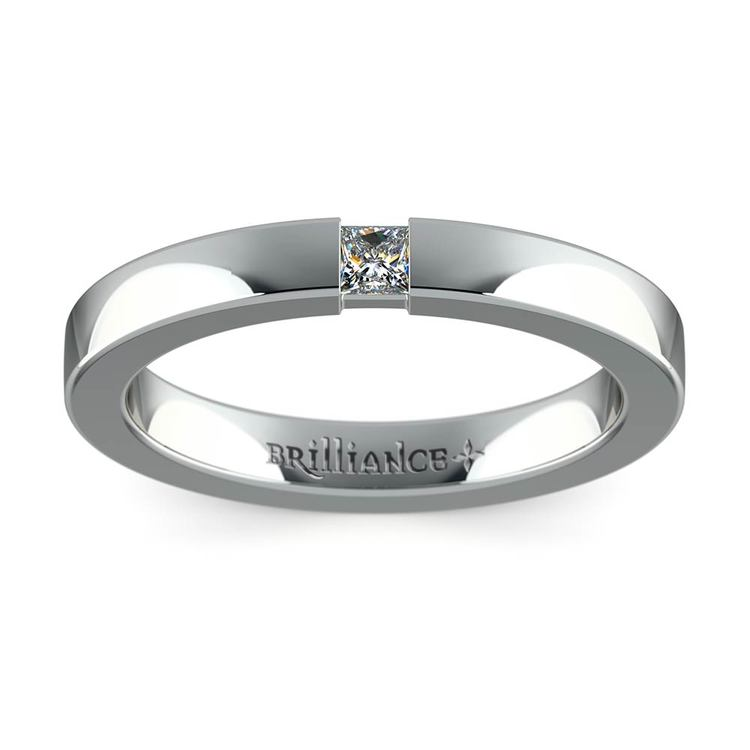 Flat Promise Ring with Princess Diamond in White Gold (2.9mm) | 02