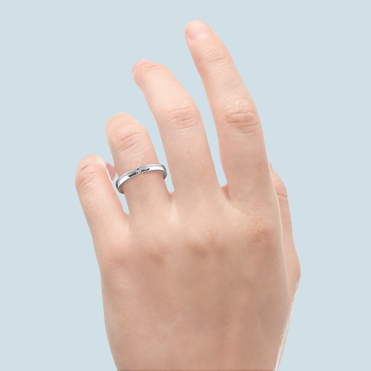Flat Promise Ring with Princess Diamond in White Gold (2.9mm) | 06